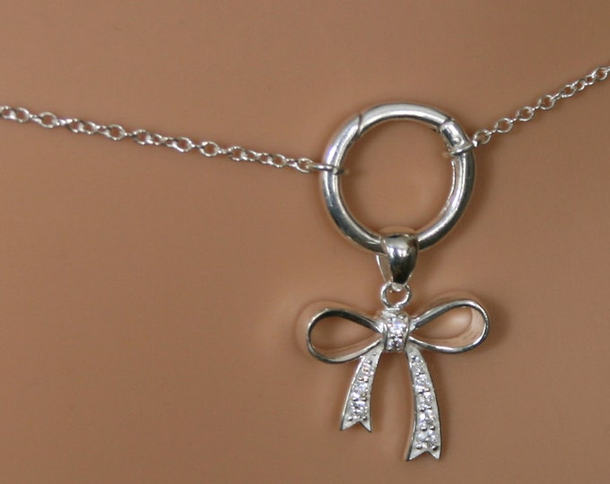 CZ Bow Permanently locking 'O' ring waist chain. Sterling silver. Infinity / Eternity ring. Baby girl bow. DD/lg. BDSM belly chain. Sparkly!