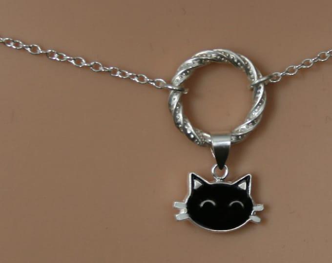 Sir's Kitten ~ Black Cat discrete Fancy O ring waist chain. Sterling silver. Eternity ring / Infinity ring. BDSM belly chain.