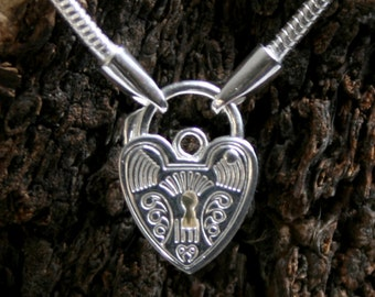 Discrete permanently locking Sterling silver Slave Bracelet. Plain or fancy padlock BDSM bracelet. Choose plain or fancy engraved padlock