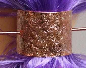 Barrette 'Paisley' Hand made Pony tail cover, hair clip, hair slide, hair clasp, hair pin, pony tail grip. Copper. Solid copper. Pure copper