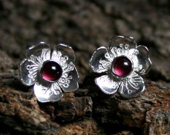 Rosa ~ Garnet & Sterling Silver stud earrings. 'Wildflower series' Exclusive design. Tiny flower, Capricorn birthstone, January gemstone.