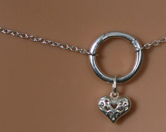 Heart of Hearts. Discrete 'O' ring waist chain. Sterling silver. Eternity ring / Infinity ring. BDSM belly chain. Little puffed Heart.