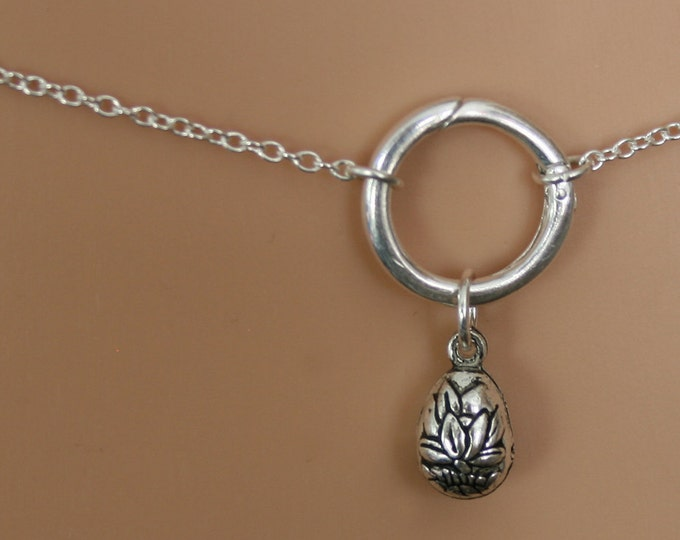 Flower Slave Bell - Discrete 'O' ring waist chain. Sterling silver. Story of 'O' / Eternity ring / Infinity ring. BDSM belly chain.