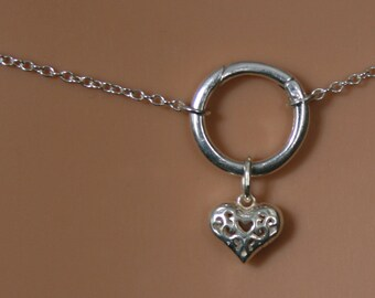 Heart of Hearts. Discrete PERMANENTLY LOCKING 'O' ring waist chain. Sterling silver. Eternity ring / Infinity ring. BDSM belly chain.