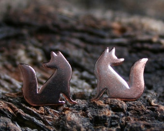 Little Red foxes. Copper & Sterling Silver stud earrings 'Forest friends' collection. Looking forward or backwards. Mis-match or 2 the same