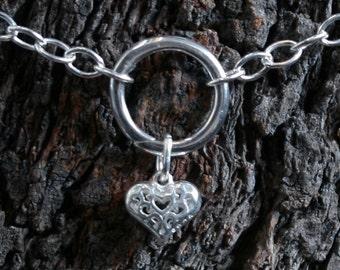 Heart of Hearts. Discrete PERMANENTLY LOCKING 'O' ring Slave Bracelet. BDSM bracelet. Sterling silver. Infinity/Eternity/Captive ring