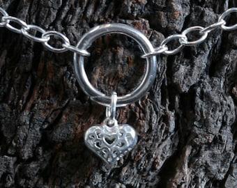 Heart of Hearts. Discrete 'O' ring Slave Bracelet. BDSM bracelet. Sterling silver. Infinity / Eternity / Captive ring. Little puffed heart.