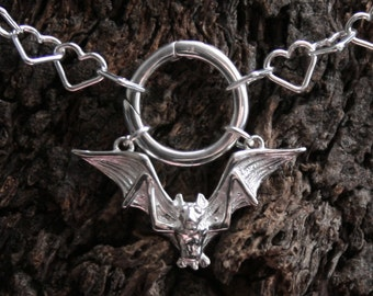 Gothic Bat ~ Discrete PERMANENTLY LOCKING O ring Day Collar/Slave Necklace/Choker. Sterling silver Heart chain. Infinity/Eternity ring