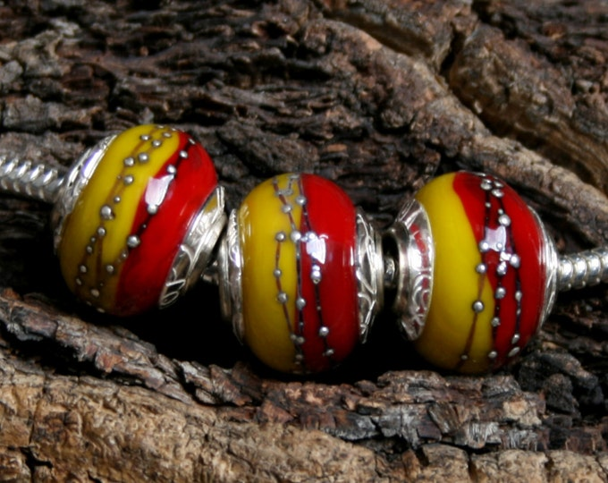 Happiness ~ Set of 3 lampwork big hole beads. Hand made full sterling silver core & end caps. Fine silver wrapped. Organic. Red and Yellow.