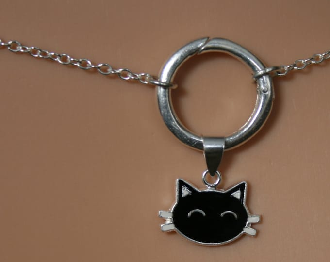 Sir's Kitten ~ Black Cat discrete O ring waist chain. Sterling silver. Eternity ring / Infinity ring. BDSM belly chain.