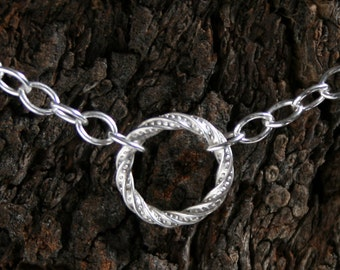 Discrete, permanently locking FANCY O Ring Day Collar / Slave Necklace. Sterling silver. Story of 'O' collar. Wear as a choker or a necklace