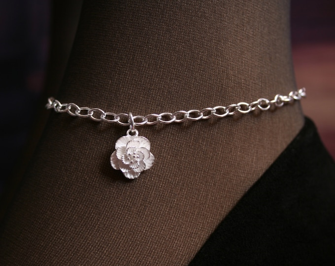 Camellia. Slave Ankle Chain Bracelet. BDSM Anklet. Sterling silver. Layered floral ankle chain. Pretty flower. Flower chain anklet.