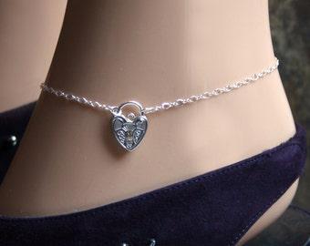 Discrete Padlock Slave Ankle Infinity Chain Bracelet. Padlock BDSM Anklet. Sterling silver. Choose plain or fancy engraved padlock.