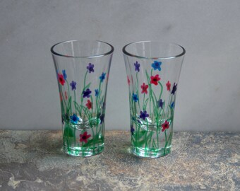 Flower Garden. An exclusive design - 2 hand painted shot glasses. Purple/Pink/Blue/choose color(s). Custom options/personalization available