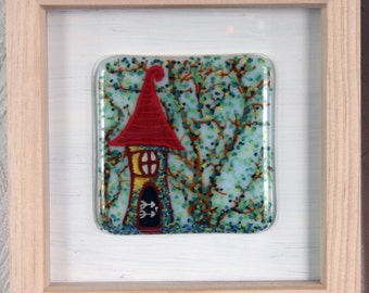 "Fae Cottage - Framed Kiln Fused art glass painting. Fairy House in the woods. Natural wood frame. Glass wall art. 19 x 19cm (7.5 x 7.5"")"