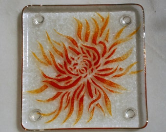 Fused glass coasters. 'Chrysanthemum'  Flame red and orange flowers on a clear base. Floral coasters. Choose 2 or 4.