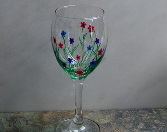 Flower Garden. An exclusive design - hand painted wine glasses. Purple/Pink/Blue/choose color(s) Custom options/personalization available