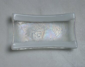Frozen River - A hand made fused glass soap / trinket / small sushi dish with white edges upon an iridescent clear base. Bathroom / Kitchen