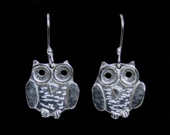 Handmade 'Owlet collection' 'Baby Owl' Earrings. Cute engraved 3D baby owls in Eco friendly recycled Sterling Silver on fish hook ear wires.