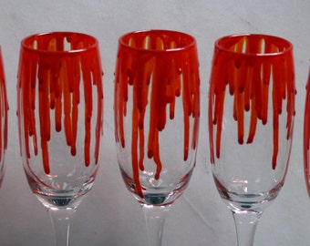 Dripping Blood - An exclusive design, hand painted, Champagne glass featuring 'blood' dripping down the sides! Horror/ Zombie/ Vampire/ Gore