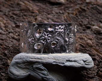 Sterling Silver Cuff Bracelet. 'Ma Petite Fleur - Memories of Spring' Reticulated Silver. One of a Kind. Eco-friendly recycled silver.