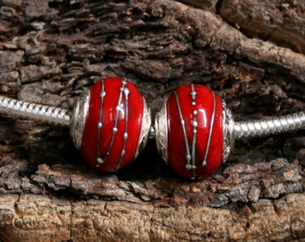 Passionata ~ 2 Lampwork big hole focal beads. Hand made full sterling silver core & end caps. Fine silver wrapped. Organic. Blood red.