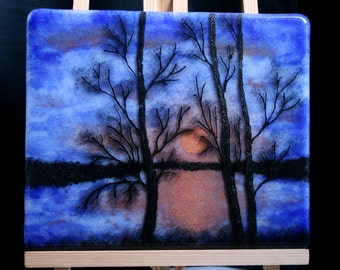 Midsummer's night - Hand painted Kiln Fused art glass 3D painting. Glass art / panel.  One of a kind painted glass panel. Blue & red sunset.