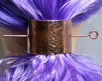 Barrette 'Lynda' Hand made Pony tail cover, hair clip, hair slide, hair clasp, hair pin, pony tail grip. Copper. Solid copper. Pure copper.