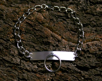 Unisex Permanently locking Heavyweight Sterling silver 'O' ring BDSM Slave bracelet. ID style. Story of O. Fully UK Hallmarked Silver.