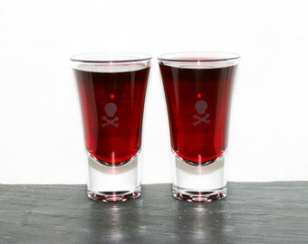 Death Shot - Pair of hand etched shot glasses featuring a skull and crossbone design.