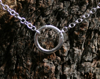Discrete 'O' ring Day Collar / Slave Necklace. Sterling silver. Infinity / Eternity / Story of O / Captive ring. Wear as Choker or necklace.