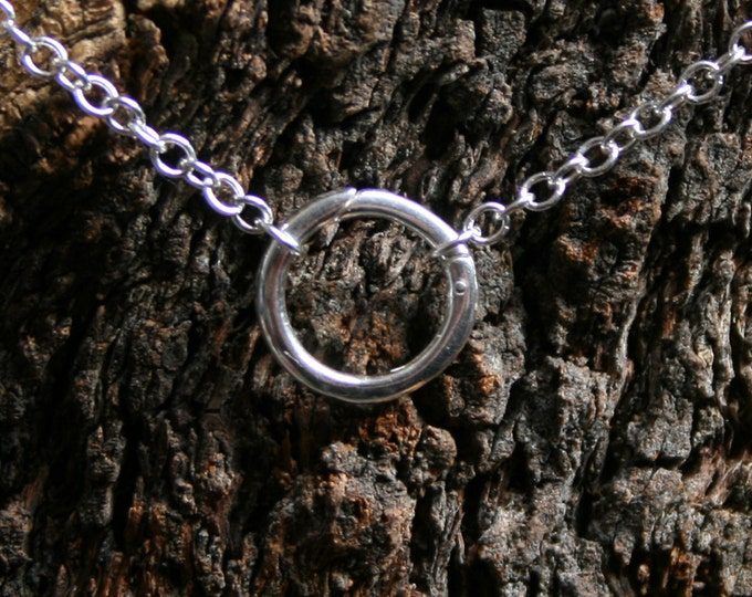 Discrete PERMANENTLY LOCKING 'O' ring Day Collar / Slave Necklace. Sterling silver. Infinity / Eternity / Captive ring. Choker or necklace