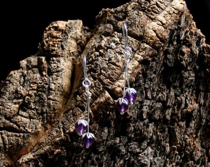 Beautiful Berries. Sterling Silver and Amethyst floral drop earrings. Exclusive design. Flower drops. Purple.
