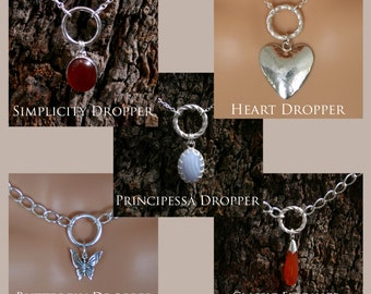 Additional droppers for my discrete 'O' Ring Day Collars / Slave Necklaces. Sterling silver and natural gemstones.
