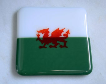 Fused glass Welsh flag coasters. Baner Cymru. Patriotic coasters. Welsh dragon coasters. Ddraig goch. Rugby coasters! Can be personalized.