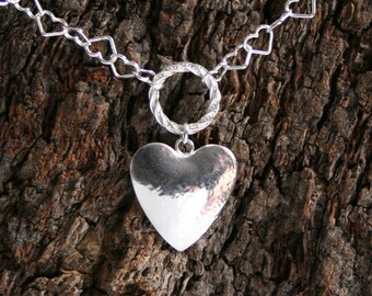 Discrete Heart chain FANCY O ring Day Collar / Slave Necklace. Sterling silver. Story of O collar. Give her your Heart! Can be personalized.