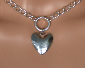 PERMANENTLY LOCKING Heavy O ring Day Collar / Slave Necklace. Sterling silver. Story of 'O' collar. Give her your Heart! Can be personalized