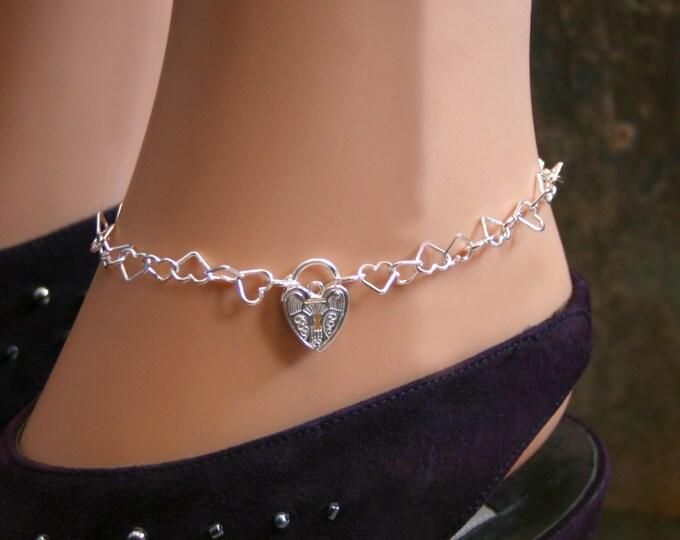 Sterling silver Slave ankle chain BDSM bracelet. Choose plain or Fancy padlock. Heart shape chain links with a heart shape padlock.
