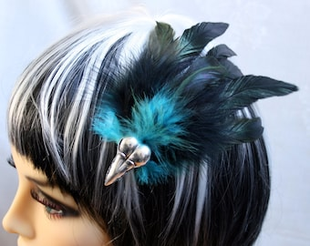 Exclusive 'Black & Teal Raven' hair grip / fascinator in Green shimmer black and Teal blue.