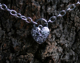 Discrete PERMANENTLY LOCKING Fancy Filigree floral Padlock Sterling silver Slave Bracelet. BDSM bracelet. Filigree flower Padlock