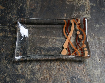 Serpentine series 'Earth'  (D1)    Fused glass soap / trinket / mini sushi / chocolates dish in shades of brown on a clear base.