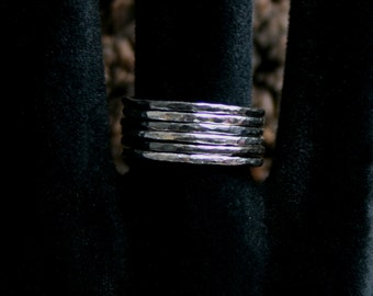 Sterling Silver stack rings. Hammered skinny silver stacking rings. Choose black or natural silver. Single or Set. UP to US 7 3/4 ~ UK P 1/2