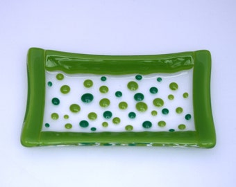 Dotty about Green - a hand made fused glass soap / trinket / sushi dish in two greens set on a clear base. Bathroom/ Kitchen/ Bedroom