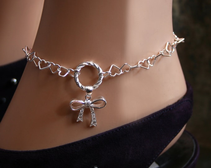 Permanently locking CZ Bow Slave Ankle Chain Bracelet. BDSM Anklet. Sterling silver. Baby girl bow. DD/lg bow. Fancy O ring. Heart links.