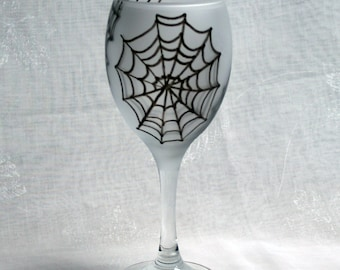 Wicked Webs (In shades of black and grey on an etched base) - An exclusive design, hand painted spider web wine glass.