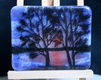 Sunset Lake - Hand painted Kiln Fused art glass 3D painting. Glass art / panel.  One of a kind painted glass panel. Blue & Orange sunset.