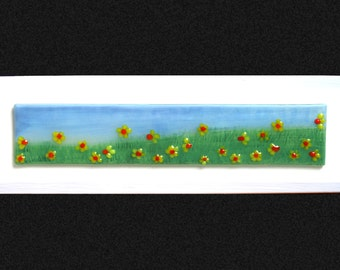 """Fused glass painting 'Springtime' Hand painted Daffodil field with raised fused glass flowers, set on a white frame. 34x10cm (13.5x4"""")"""
