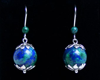 Handmade 'Terra Decorus' Chrysocolla and sterling silver earrings. Fish hook ear wires for pierced ears. Swirling blues and greens.