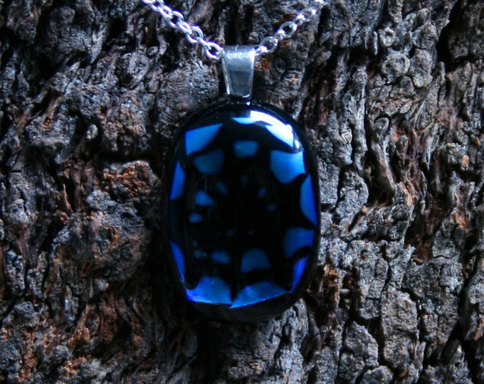 Handmade Unique Dichroic Fused Glass Pendant 'Blue Spiderweb' On a Sterling Silver 925 bail. (choose sterling silver or silver plated chain)