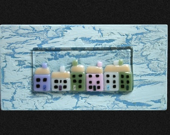 Fused glass 'Hexad' Wall art / painting. 'Cornish Cottages' series. A row of pretty pastel cottages set on a Blue & white 'crackle' frame
